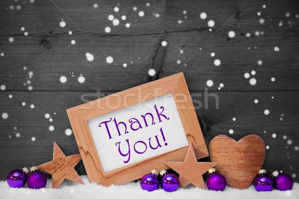 Szürke lila karácsony dekoráció szöveg köszönjük Stock fotó © Nelosa