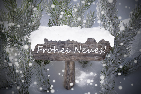 Sign Snowflakes Fir Tree Frohes Neues Mean New Year Stock photo © Nelosa