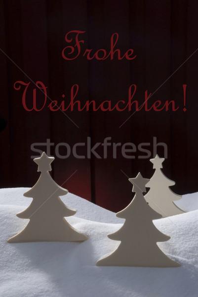 Three White Trees, Snow, Frohe Weihnachten Means Merry Christmas Stock photo © Nelosa