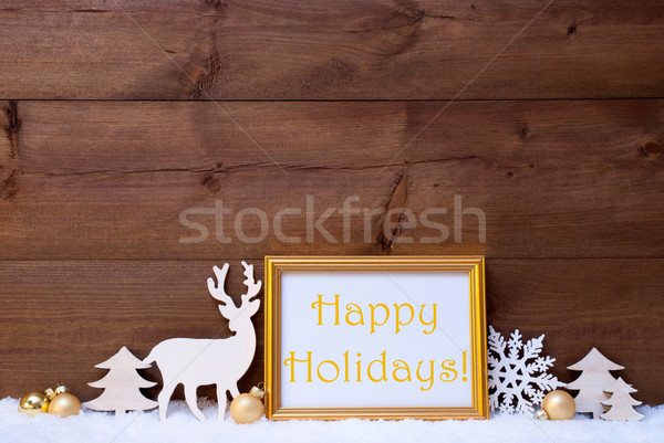 White And Golden Christmas Card, Snow, Happy Holidays Stock photo © Nelosa