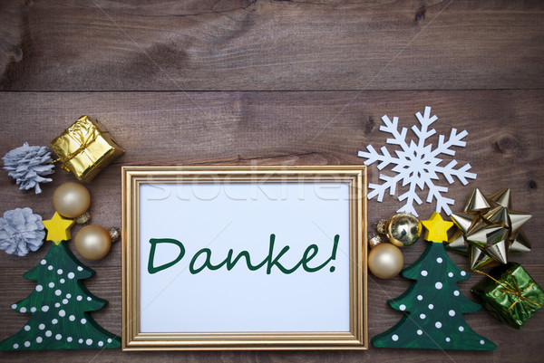 Stock photo: Frame With Christmas Decoration, Danke Mean Thank You