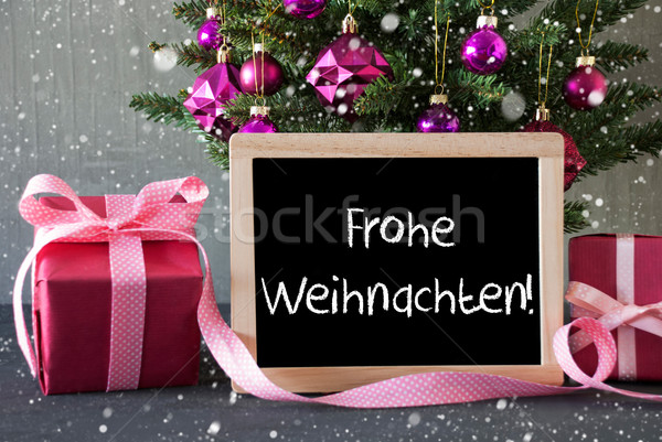 Tree With Gifts, Snowflakes, Frohe Weihnachten Means Merry Christmas Stock photo © Nelosa