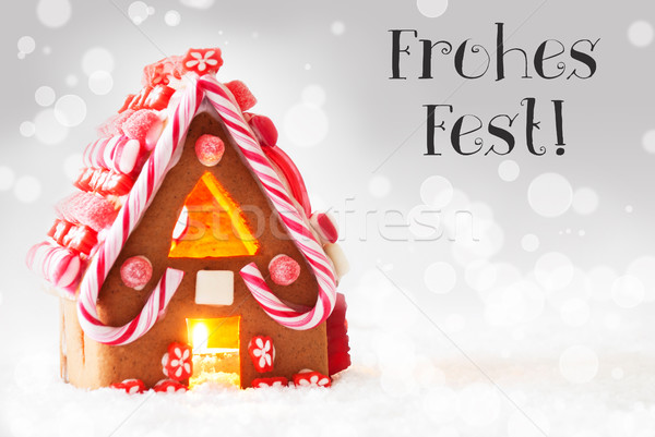 Gingerbread House, Silver Background, Frohes Fest Means Merry Christmas Stock photo © Nelosa