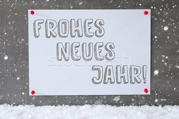 Label On Cement Wall, Snowflakes, Neues Jahr Means New Year Stock photo © Nelosa