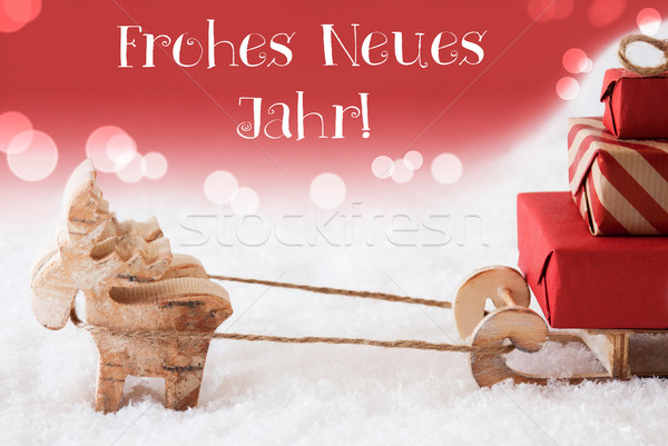 Reindeer With Sled, Red Background, Neues Jahr Means New Year Stock photo © Nelosa
