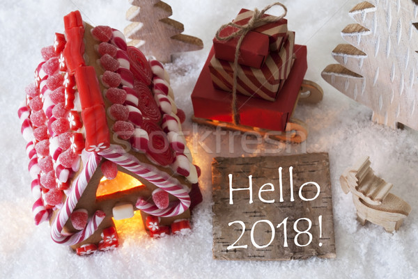 Gingerbread House, Sled, Snow, Text Hello 2018 Stock photo © Nelosa