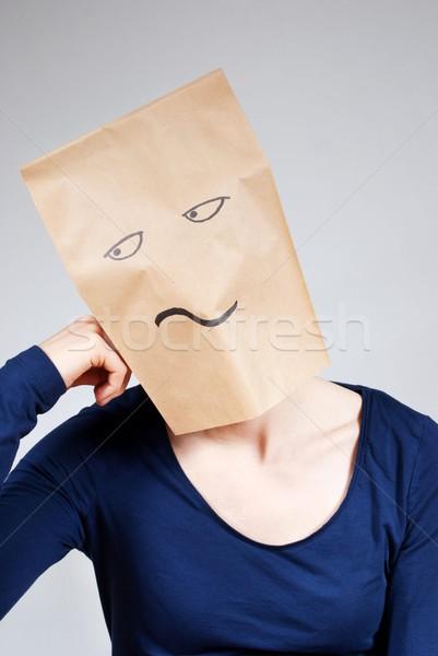 Nudzić osoby nuda torby papierowe twarz kobieta Zdjęcia stock © Nelosa