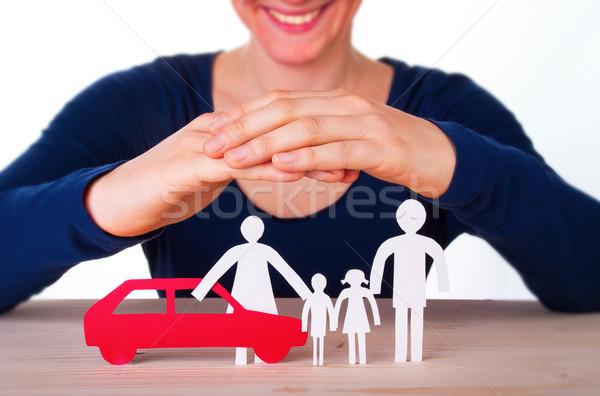 Woman Protecting Family and Car Stock photo © Nelosa