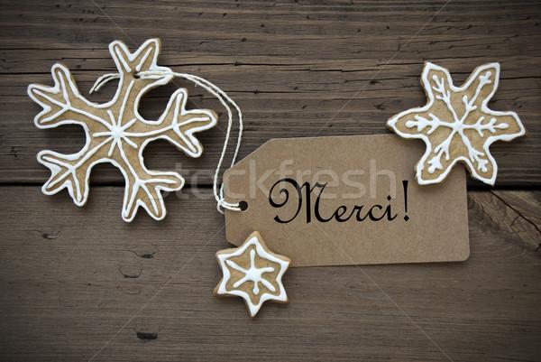 Merci Label with Ginger Bread Snowflakes Stock photo © Nelosa