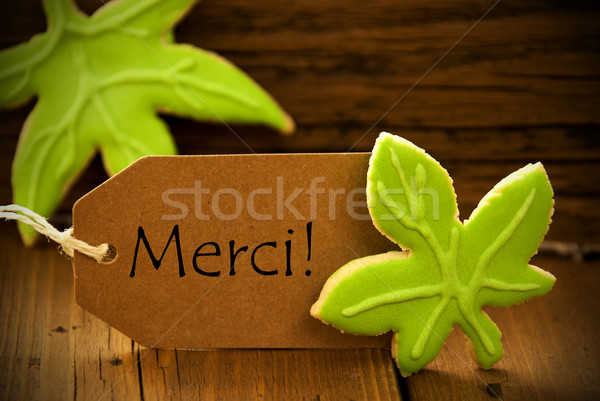 Brown Organic Label With French Text Merci Stock photo © Nelosa