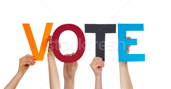 People Hands Holding Colorful Straight Word Vote Stock photo © Nelosa