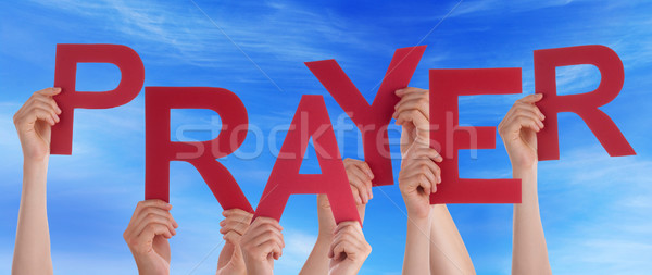 Many People Hands Holding Red Word Prayer Blue Sky Stock photo © Nelosa