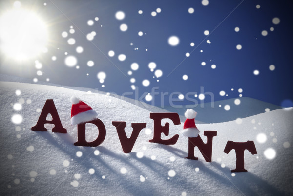 Advent Mean Christmas Time Snowflake Santa Hat Sky Stock photo © Nelosa