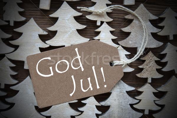 Barna címke Isten vidám karácsony szalag Stock fotó © Nelosa