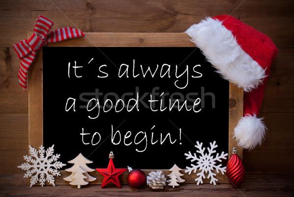 Brown Blackboard Santa Hat Christmas Decoration Quote Time Begin Stock photo © Nelosa