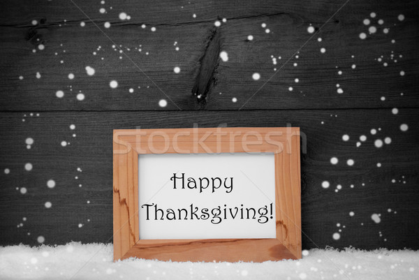 Frame With Gray Background, Happy Thanksgiving, Snow, Snowflakes ...