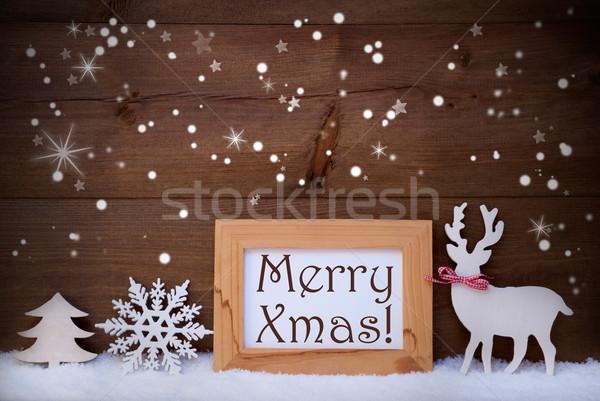 Beyaz dekorasyon kar neşeli noel Stok fotoğraf © Nelosa
