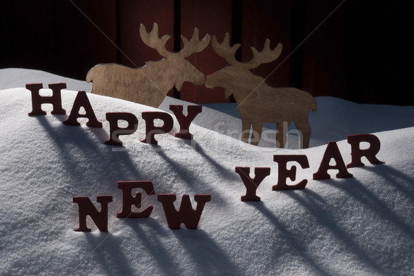 Christmas Card With Moose Couple And Snow, Happy New Year Stock photo © Nelosa