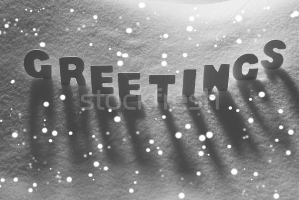 White Word Greetings On Snow, Snowflakes Stock photo © Nelosa