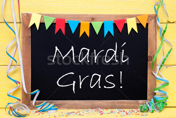 Chalkboard With Decoration, Text Mardi Gras Stock photo © Nelosa