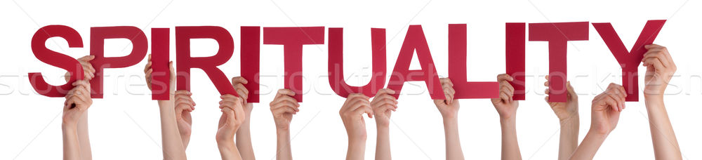 Many People Hands Holding Red Straight Word Spirituality Stock photo © Nelosa