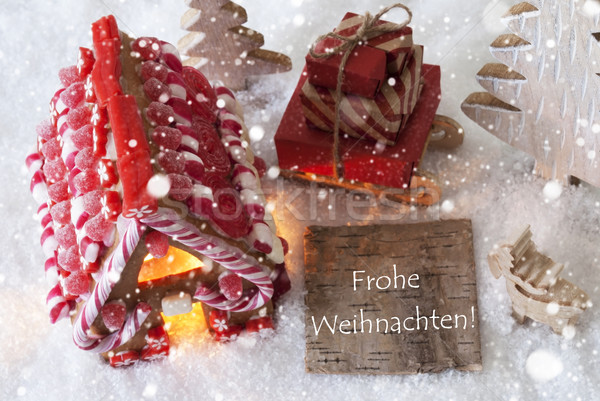 Gingerbread House, Sled, Snowflakes, Frohe Weihnachten Means Merry Christmas Stock photo © Nelosa