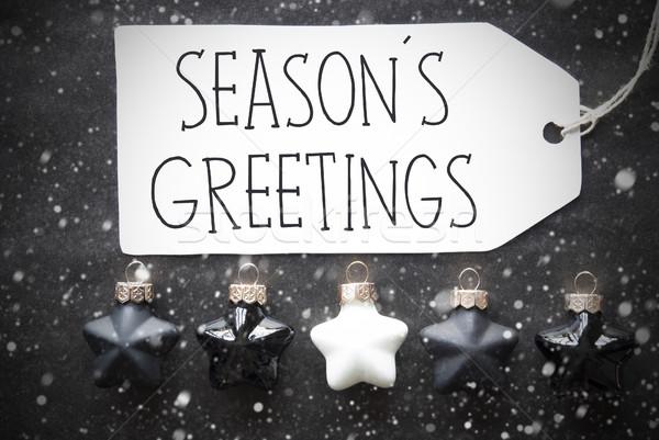 Black Christmas Balls, Snowflakes, Text Seasons Greetings Stock photo © Nelosa