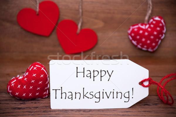 Read Hearts, Label, Text Happy Thanksgiving Stock photo © Nelosa