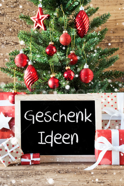 Colorful Christmas Tree, Snowflakes, Geschenk Ideen Means Gift Ideas Stock photo © Nelosa
