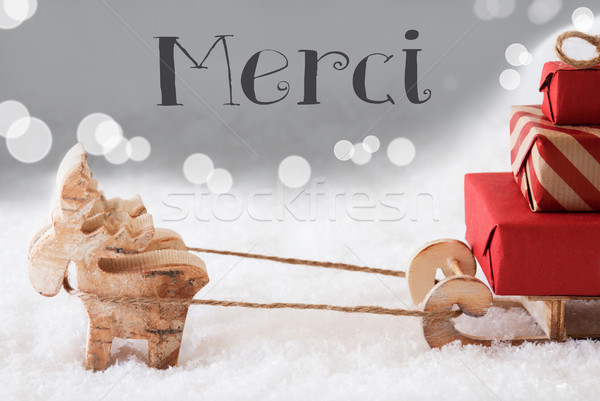 Reindeer With Sled, Silver Background, Merci Means Thank You Stock photo © Nelosa
