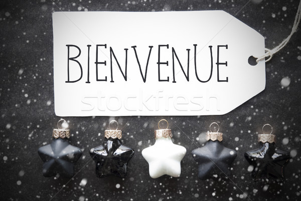 Black Christmas Balls, Snowflakes, Bienvenue Means Welcome Stock photo © Nelosa
