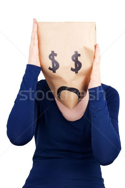 Kétségbeesett dollár papírzacskó fej kétségbeesés izolált Stock fotó © Nelosa