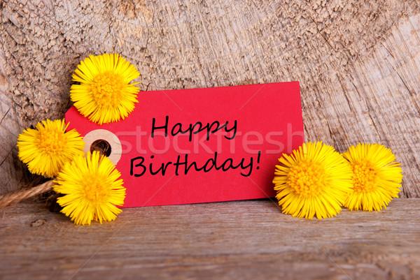 Rojo etiqueta feliz cumpleaños flores amarillas madera feliz Foto stock © Nelosa