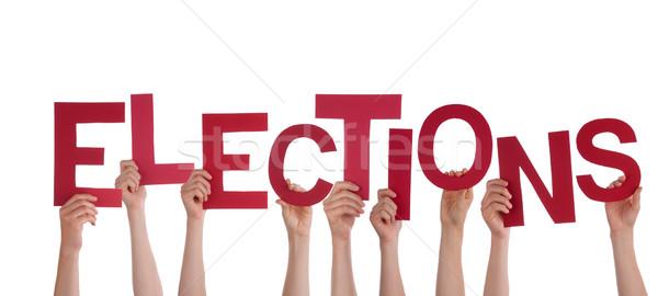 手 選挙 多くの 赤 言葉 ストックフォト © Nelosa