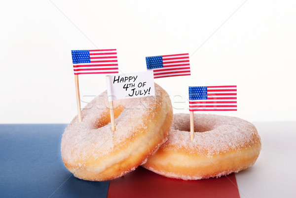 Donuts with Flags and Happy 4th of July Stock photo © Nelosa
