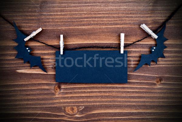 Halloween üres szalag fekete szöveg fa Stock fotó © Nelosa