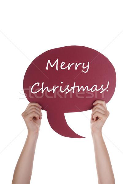 Piros szöveglufi vidám karácsony kéz tart Stock fotó © Nelosa