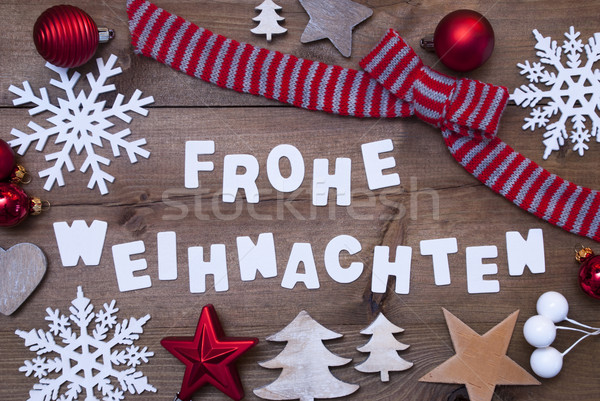 Frohe Weihnachten Means Merry Christmas,Red Brown Decoration Stock photo © Nelosa