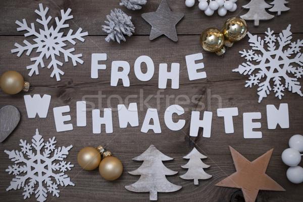 Frohe Weihnachten Mean Merry Christmas,Gray Golden Decoration Stock photo © Nelosa