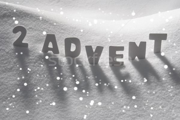 White Word 2 Advent Means Christmas Time On Snow, Snowflakes Stock photo © Nelosa