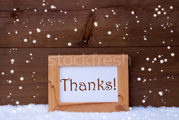 Picture Frame With Text Thanks, Snow, Snowflakes Stock photo © Nelosa