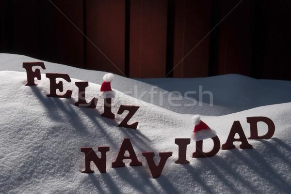 Card With Santa Hat, Snow, Feliz Navidad Mean Merry Christmas Stock photo © Nelosa