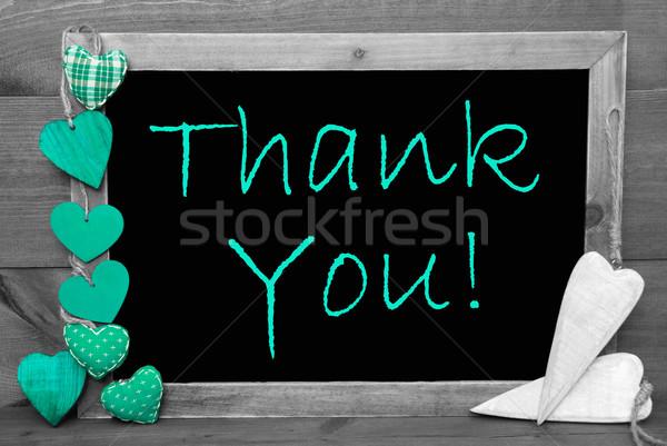 Feketefehér zöld szívek köszönjük tábla angol Stock fotó © Nelosa