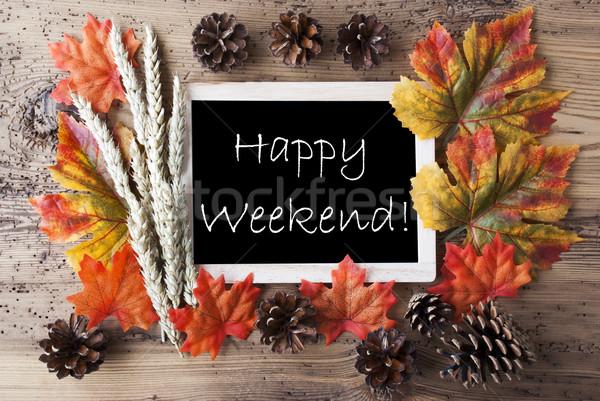 Tablica jesienią dekoracji szczęśliwy weekend tablicy Zdjęcia stock © Nelosa