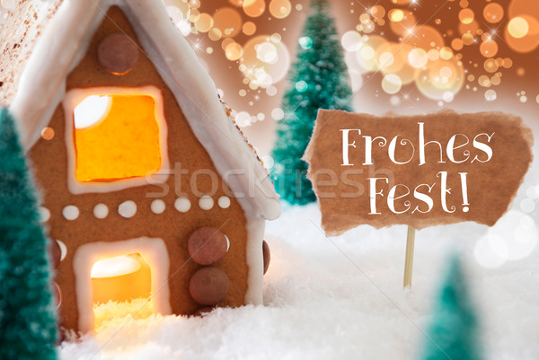 Gingerbread House, Bronze Background, Frohes Fest Means Merry Christmas Stock photo © Nelosa