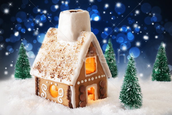 Gingerbread House On Snow And Bokeh Effect Stock photo © Nelosa