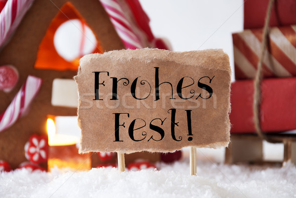 Gingerbread House With Sled, Frohes Fest Means Merry Christmas Stock photo © Nelosa