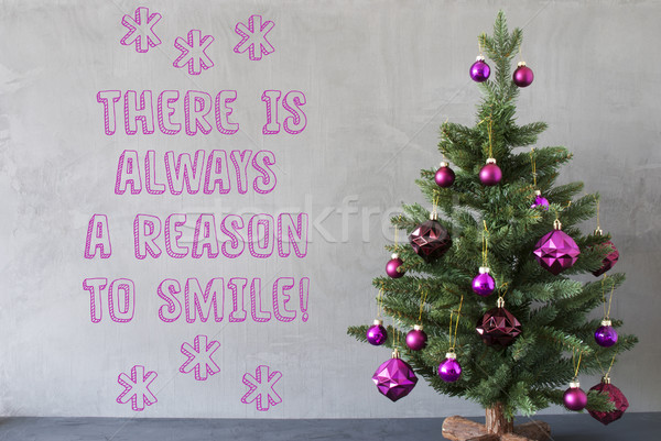 Christmas Tree, Cement Wall, Quote Always Reason To Smile Stock photo © Nelosa