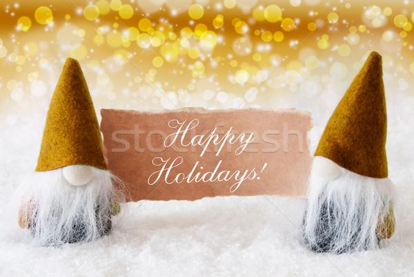 Golden Noble Gnomes With Card, Text Happy Holidays Stock photo © Nelosa