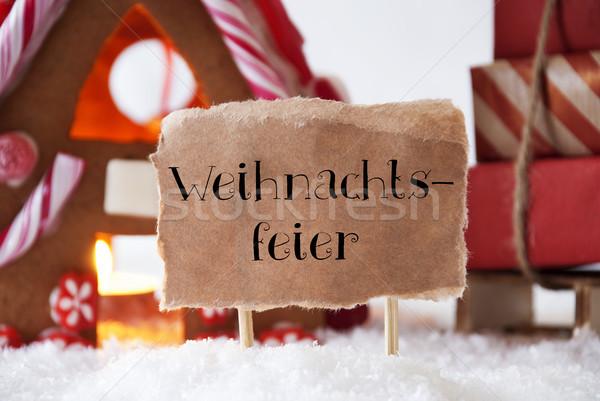 Pan di zenzero casa Natale party etichetta testo Foto d'archivio © Nelosa